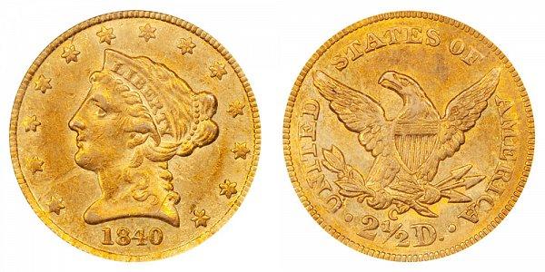1840 C Liberty Head $2.50 Gold Quarter Eagle - 2 1/2 Dollars