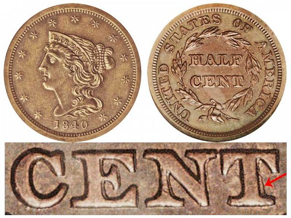 1840 Braided Hair Half Cent Penny - First Restrike