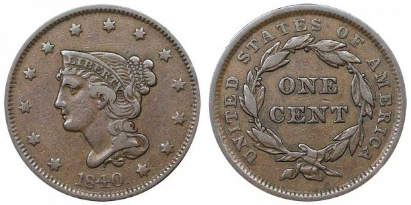 1840 Braided Hair Large Cent Penny - Large Date