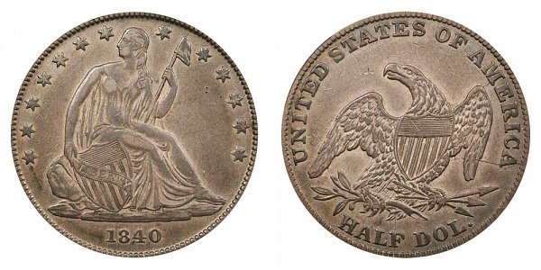 1840 Seated Liberty Half Dollar - Medium Letters - Reverse of 1838