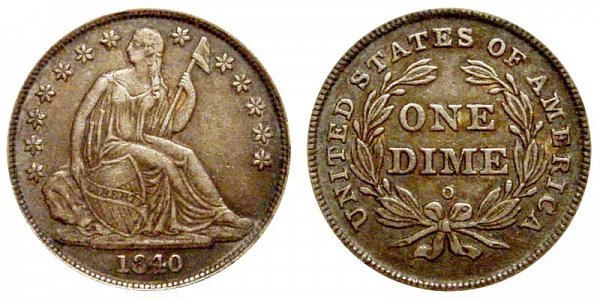 1840 O Seated Liberty Dime - Type 2 No Drapery