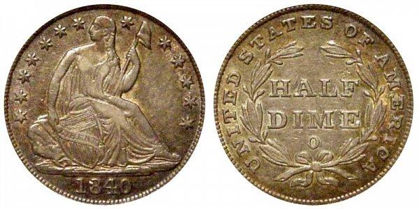 1840 O Seated Liberty Half Dime - No Drapery
