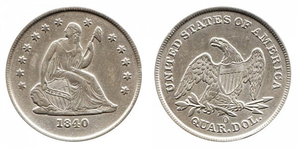 1840 O Seated Liberty Quarter - No Drapery
