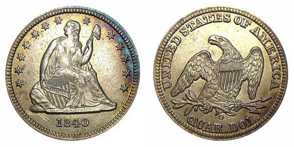 1840 O Seated Liberty Quarter - With Drapery Added