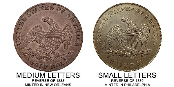1840 Small Letters vs Medium Letters Seated Liberty Half Dollar - Difference and Comparison