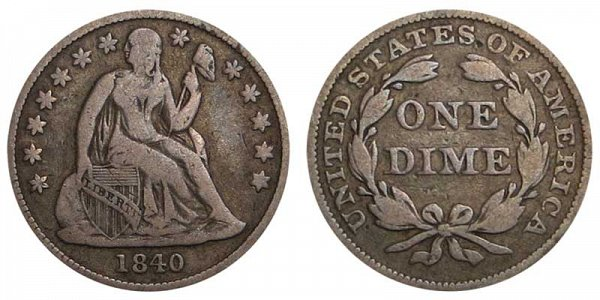 1840 Seated Liberty Dime - Type 2 With Drapery Added