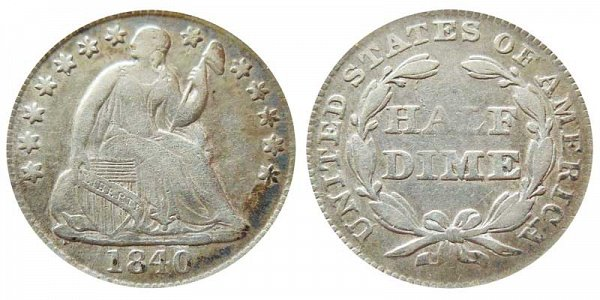 1840 Seated Liberty Half Dime - With Drapery Added