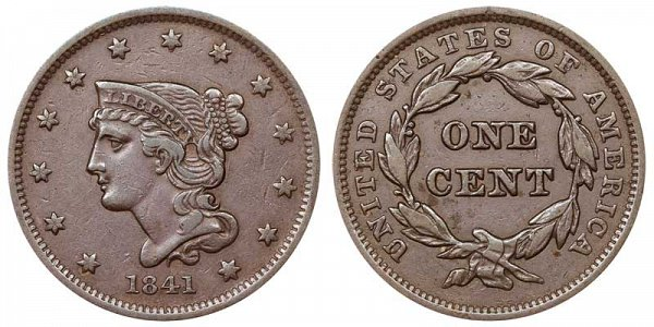 1841 Braided Hair Large Cent Penny
