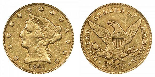 1841 C Liberty Head $2.50 Gold Quarter Eagle - 2 1/2 Dollars
