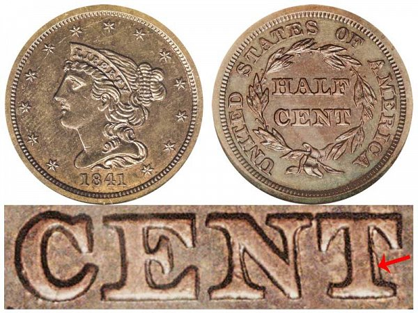 1841 Braided Hair Half Cent Penny - First Restrike
