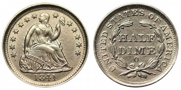 1841 O Seated Liberty Half Dime
