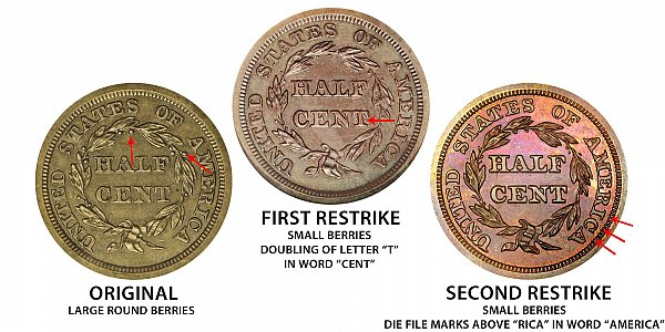 1841 Original vs First Restrike vs Second Restrike Braided Hair Half Cent - Difference and Comparison