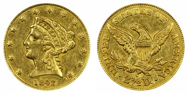 1842 C Liberty Head $2.50 Gold Quarter Eagle - 2 1/2 Dollars
