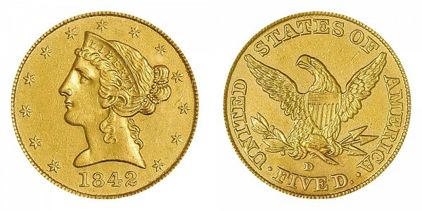 1842 D Liberty Head $5 Gold half Eagle - Large Date