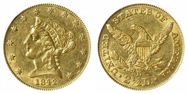 1842 D Liberty Head $2.50 Gold Quarter Eagle - 2 1/2 Dollars