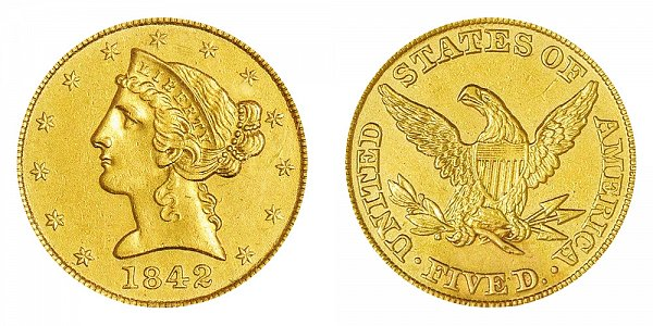 1842 Liberty Head $5 Gold half Eagle - Large Letters