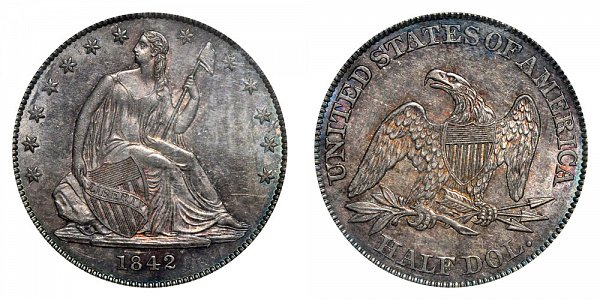 1842 Seated Liberty Half Dollar - Large Letters - Small Date