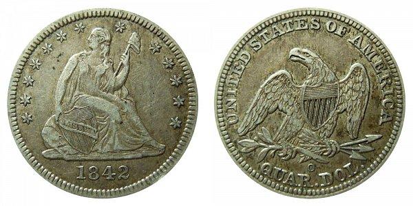 1842 O Seated Liberty Quarter - Large Date