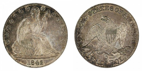1842 OSeated Liberty Half Dollar - Large Letters - Medium Date