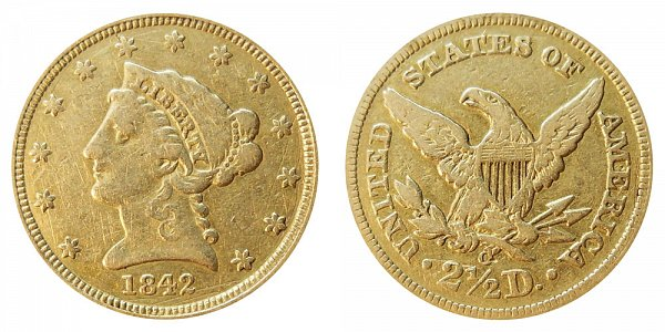 1842 O Liberty Head $2.50 Gold Quarter Eagle - 2 1/2 Dollars