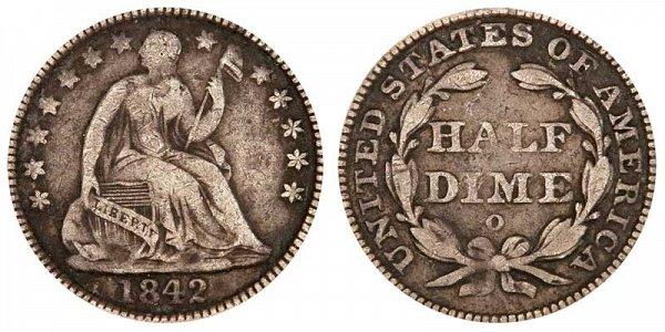 1842 O Seated Liberty Half Dime