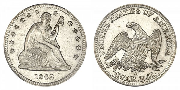 1842 O Seated Liberty Quarter - Small Date