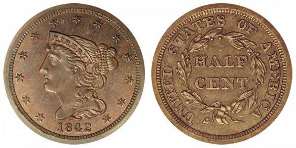 1842 Braided Hair Half Cent Penny - Original