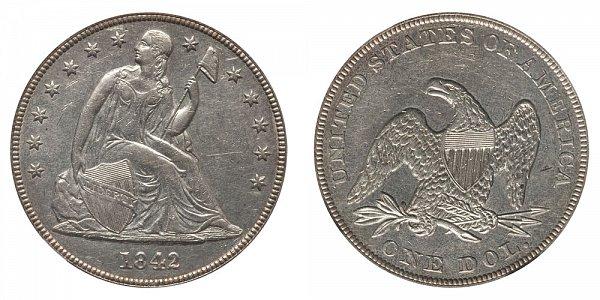 1842 Seated Liberty Silver Dollar