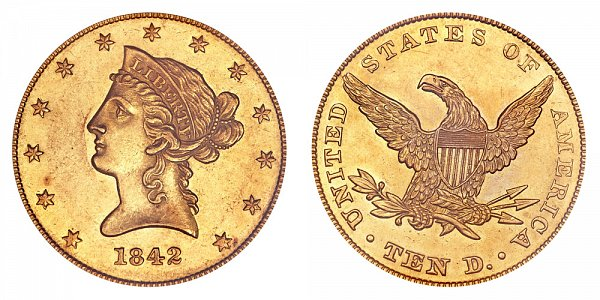 1842 Small Date Plain 4 - Liberty Head $10 Gold Eagle - Ten Dollars