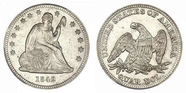 1842 Seated Liberty Quarter - Small Date - Proof Only