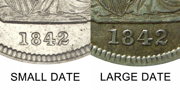 1842 O Seated Liberty Quarter - Large Date vs Small Date - Difference and Comparison