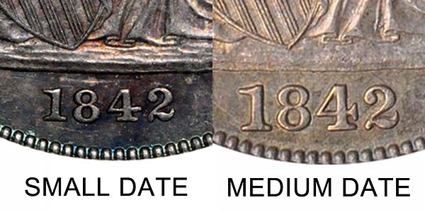 1842 Small Date vs Medium Date Seated Liberty Half Dollar - Difference and Comparison