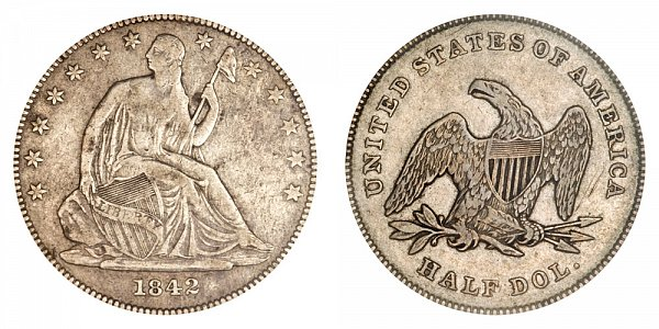 1842 Seated Liberty Half Dollar - Small Letters - Small Date