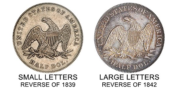 1842 Small Letters vs Large Letters Seated Liberty Half Dollar - Difference and Comparison
