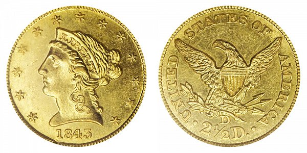 1843 D Liberty Head $2.50 Gold Quarter Eagle - Large D