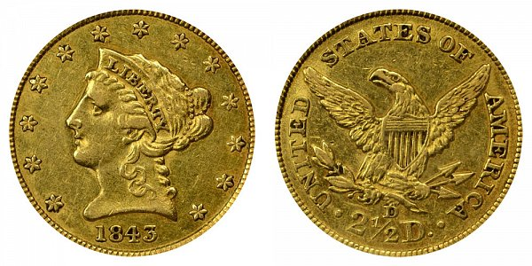 1843 D Liberty Head $2.50 Gold Quarter Eagle - Small D