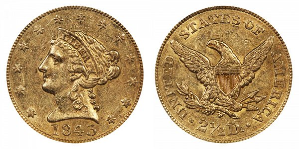 1843 Liberty Head $2.50 Gold Quarter Eagle - 2 1/2 Dollars