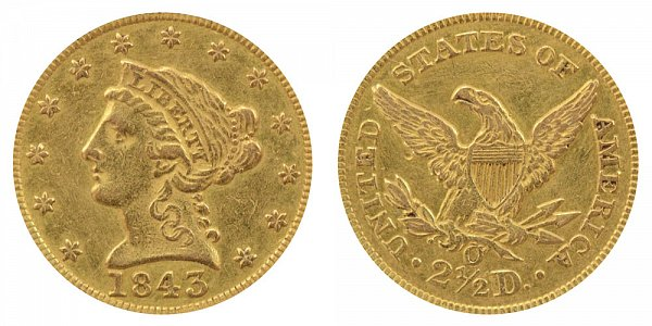 1843 O Liberty Head $2.50 Gold Quarter Eagle - Large Date - Plain 4