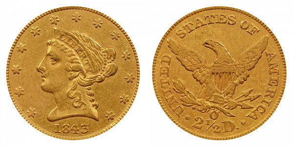 1843 O Liberty Head $2.50 Gold Quarter Eagle - Small Date - Crosslet 4