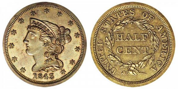 1843 Braided Hair Half Cent Penny - Original
