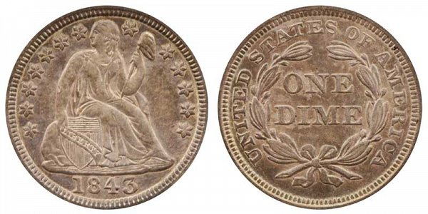 1843 Seated Liberty Dime