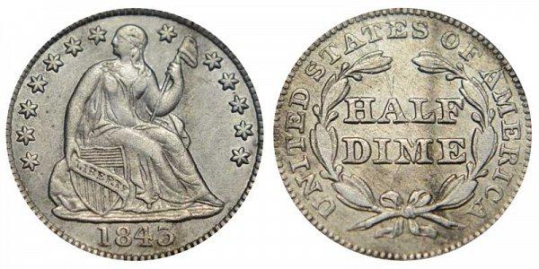 1843 Seated Liberty Half Dime