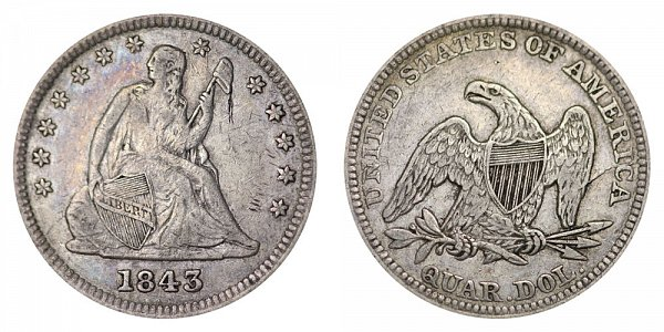 1843 Seated Liberty Quarter