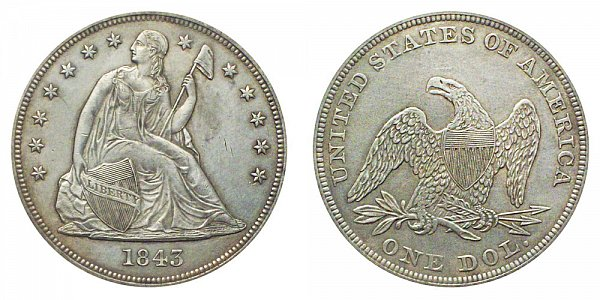 1843 Seated Liberty Silver Dollar