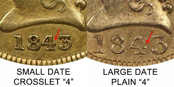 1843 C Crosslet 4 vs Plain 4 Liberty Head $2.50 Gold Quarter Eagle - Difference and Comparison