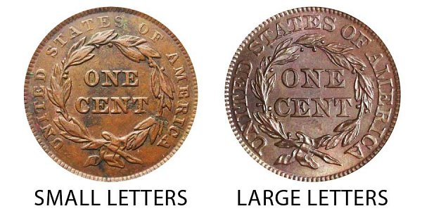 1843 Small Letters vs Large Letters Braided Hair Large Cent - Difference and Comparison