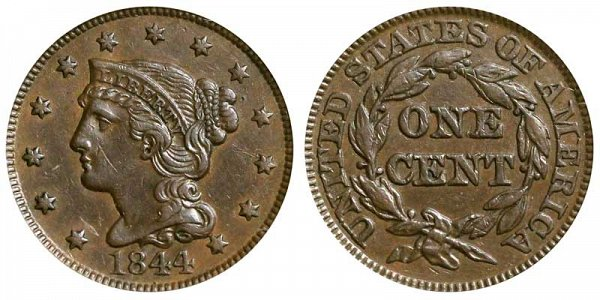 1844 Braided Hair Large Cent Penny