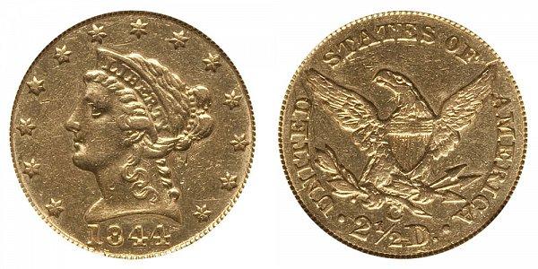 1844 C Liberty Head $2.50 Gold Quarter Eagle - 2 1/2 Dollars