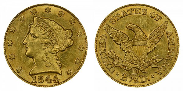 1844 D Liberty Head $2.50 Gold Quarter Eagle - 2 1/2 Dollars