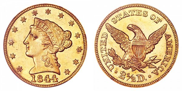 1844 Liberty Head $2.50 Gold Quarter Eagle - 2 1/2 Dollars